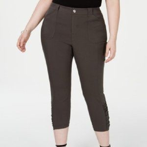New INC Ruched Hem Cropped Olive Green Pants